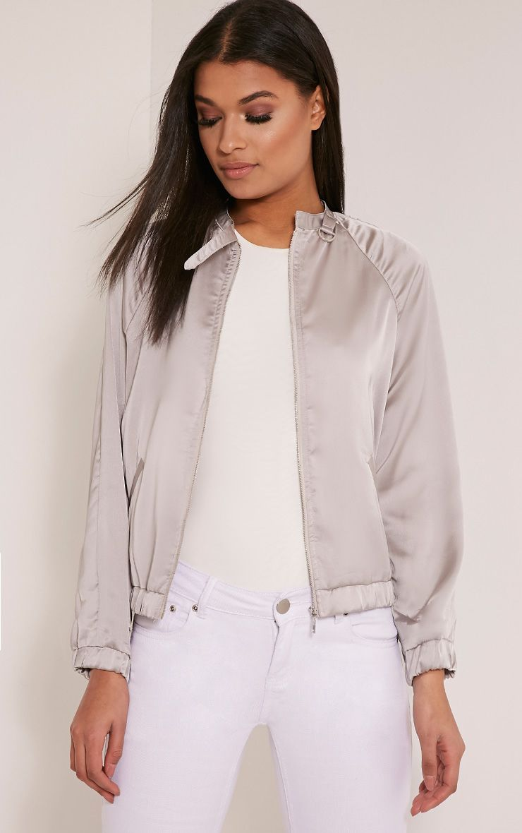Emsa Grey Satin Bomber Jacket 1