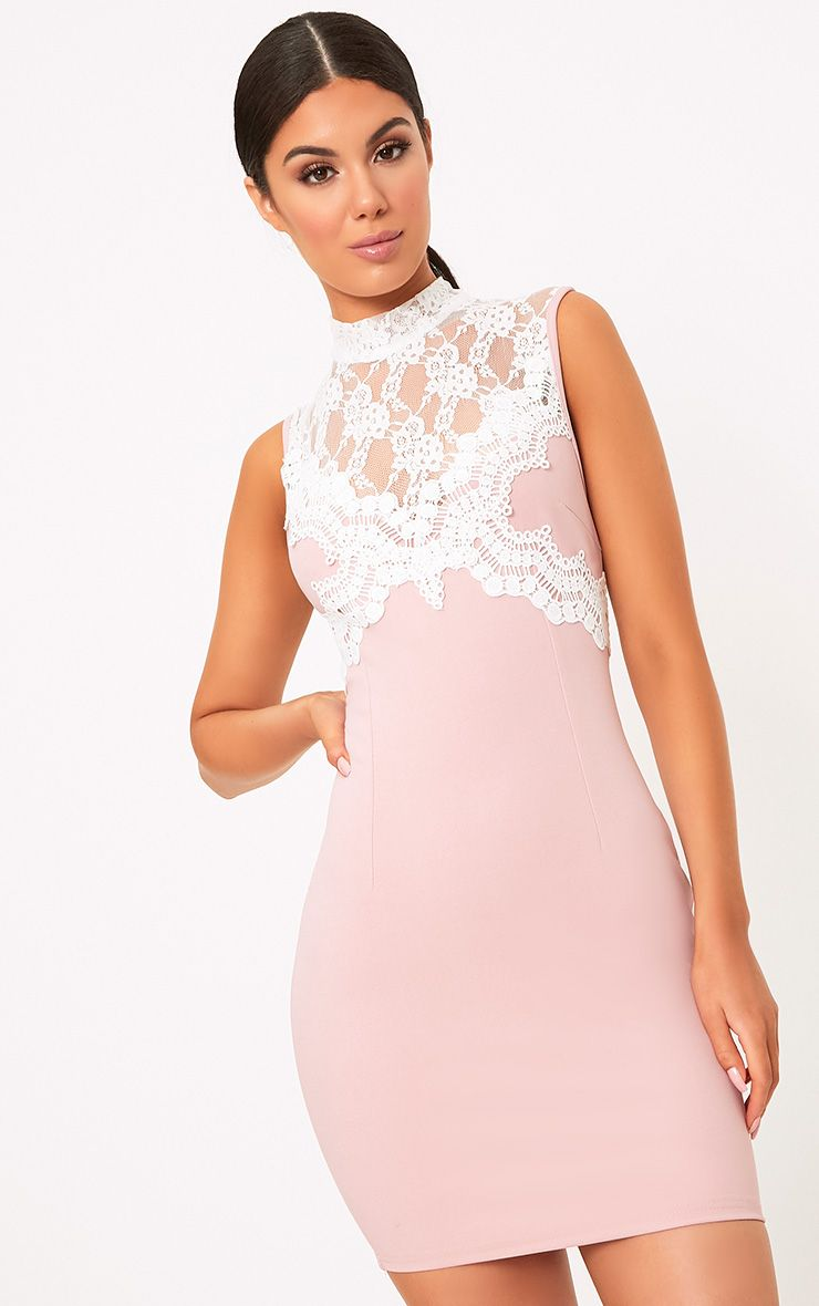 Zendana Pink High Neck Contrast Lace Bodycon Dress