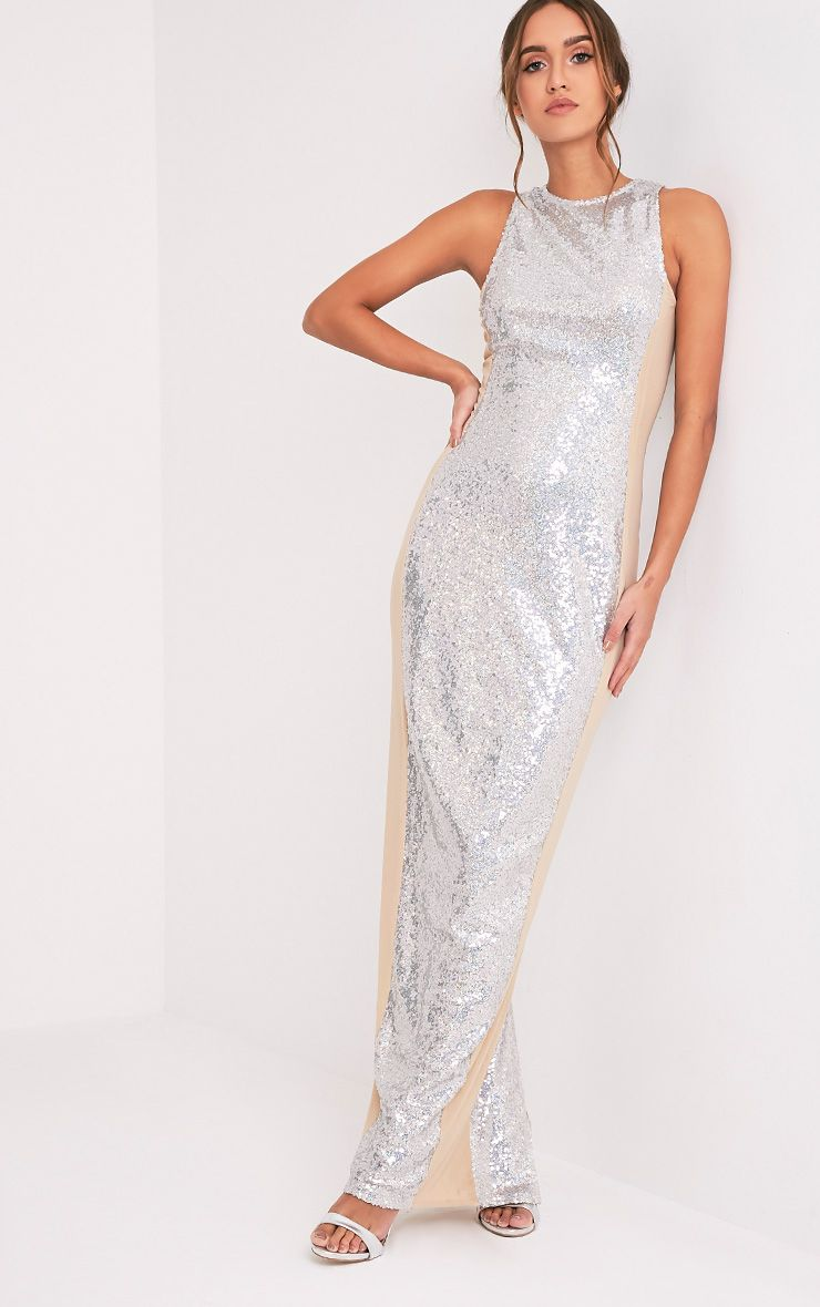 Carsie Silver Sleeveless Sequin Maxi Dress