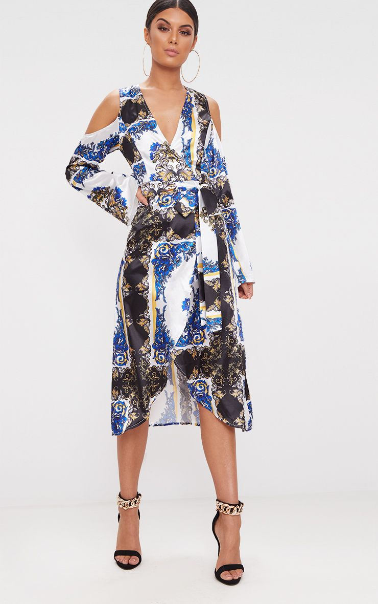 Blue Scarf Print Satin Midi Dress