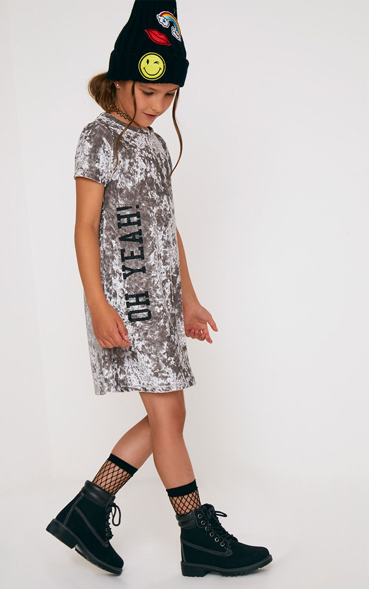 Grey Velvet T Shirt Dress