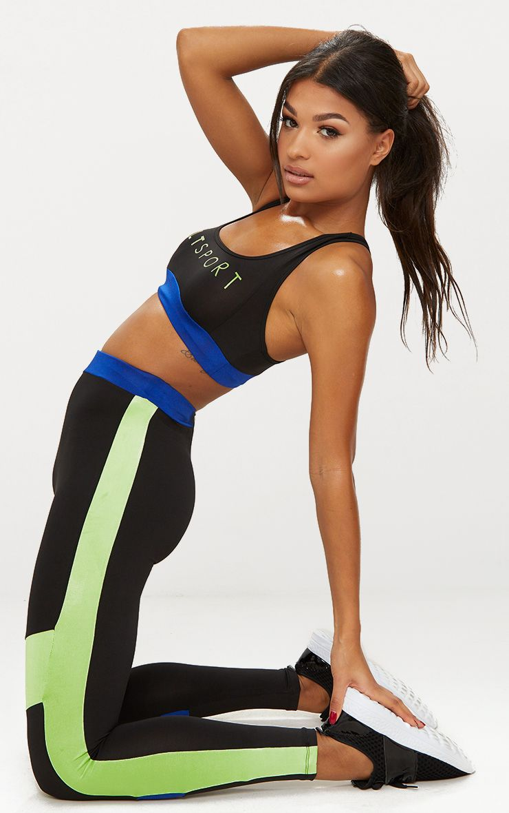 Black Contrast Panelled Sports Leggings