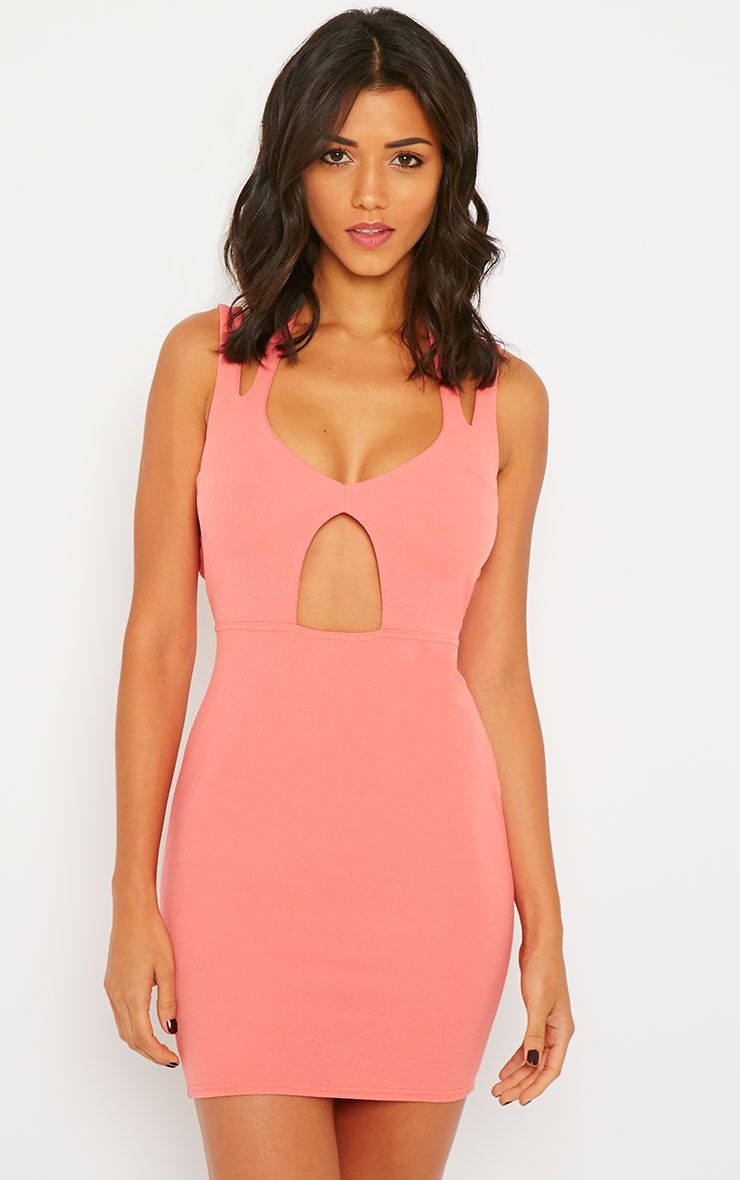Audrina Coral Crepe Cut Out Mini Dress 1