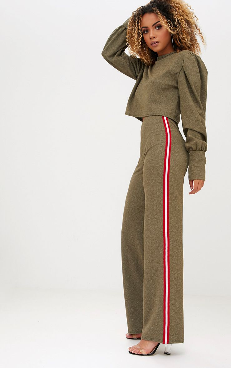 Khaki Lurex Sport Stripe Wideleg Trousers