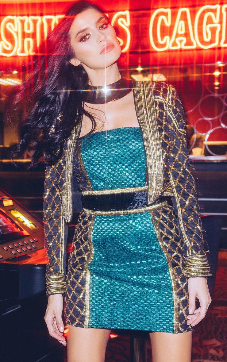 Malia Black Premium Sequin Embellished Crop Trophy Jacket