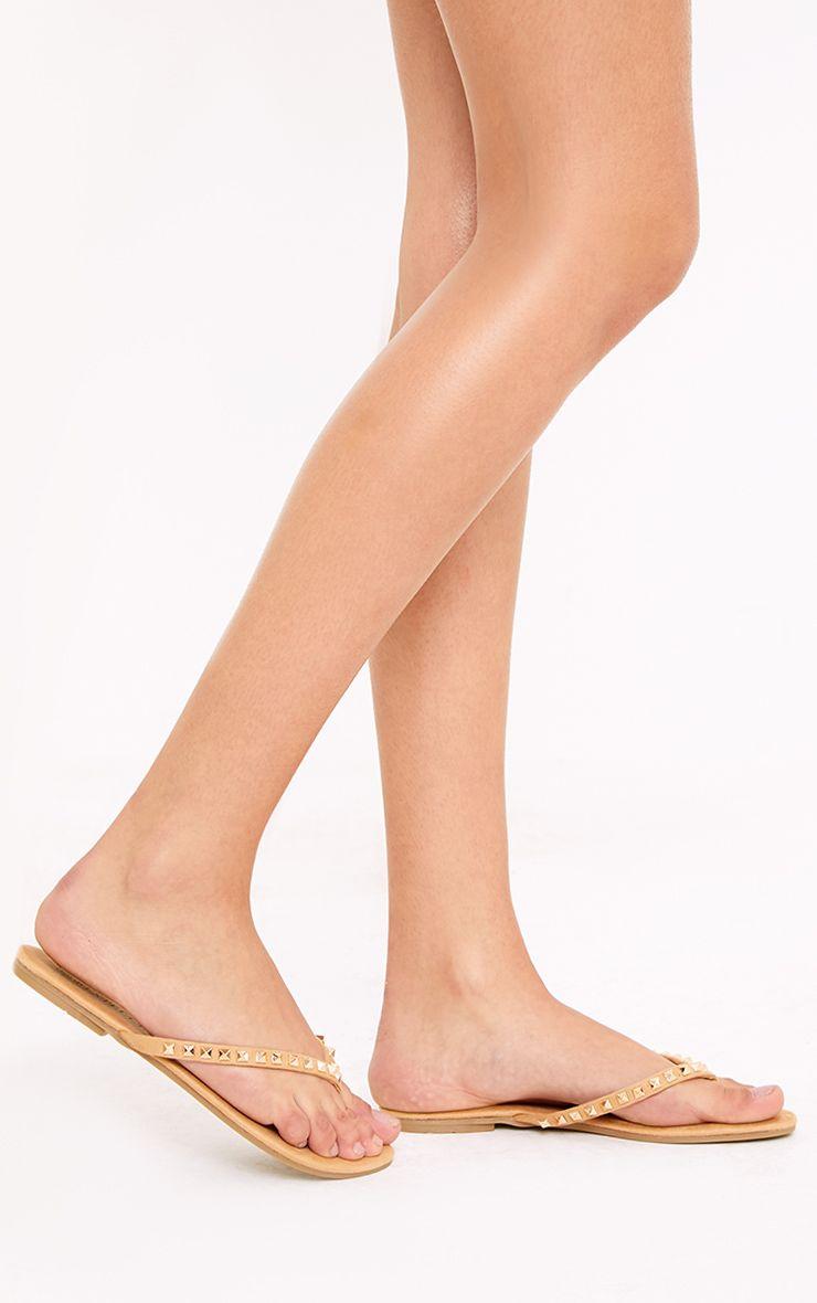 Bonny Camel Studded Flip Flops