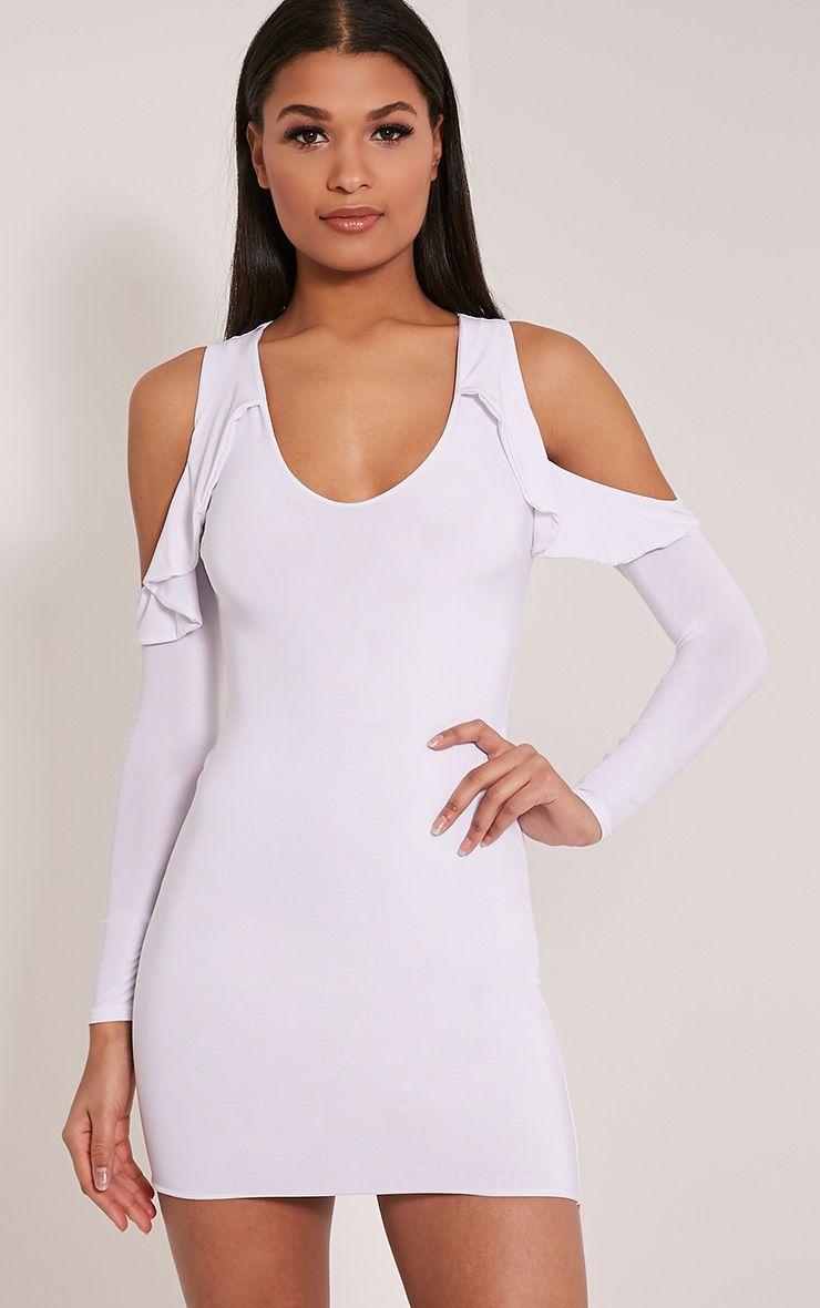 Darlia White Cold Shoulder Frill Detail Mini Dress