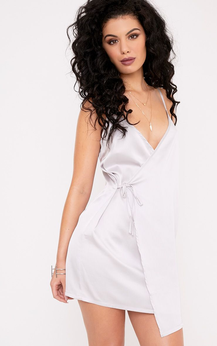 Pippa Grey Satin Wrap Shift Dress