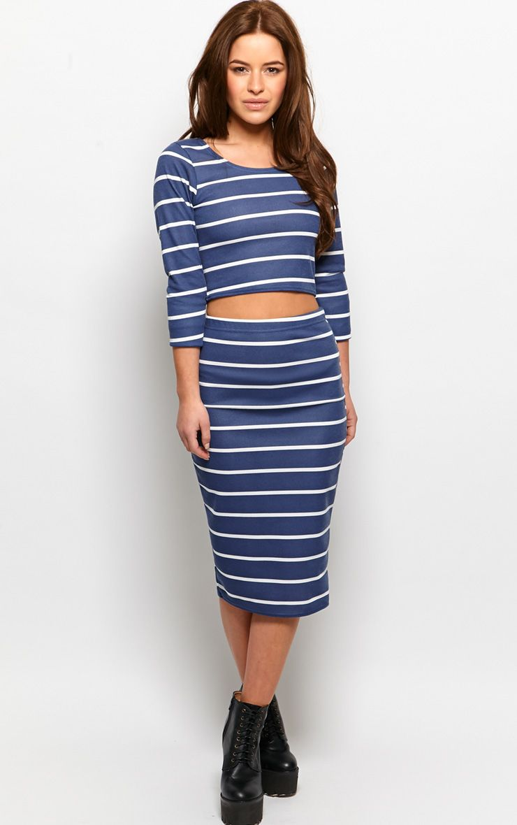 Kennedy Blue Premium Striped Midi Skirt 1