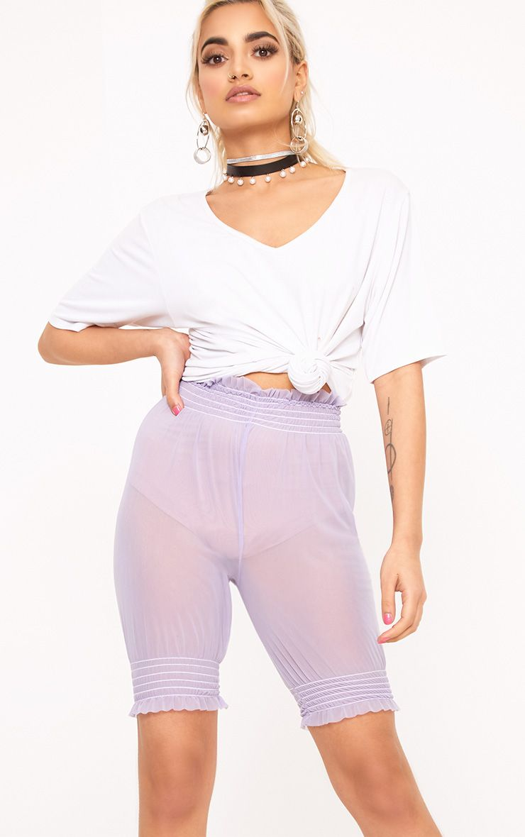 Lilac Sheer Frill Trim Cycle Shorts