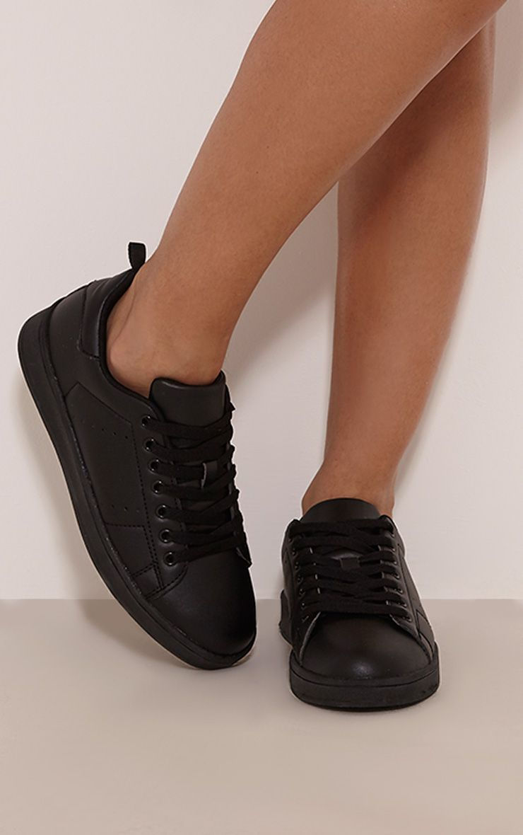 Saya Black Casual Lace Up Trainers