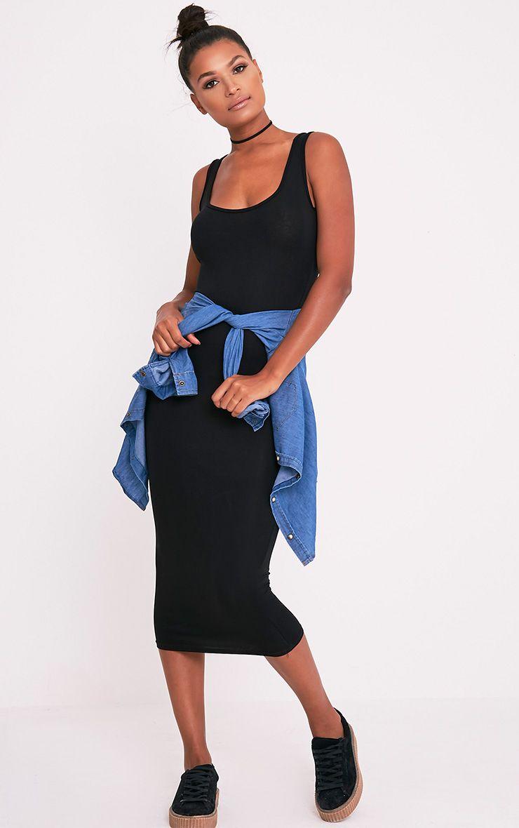 Mirah Black Scoop Neck Midaxi Dress 1