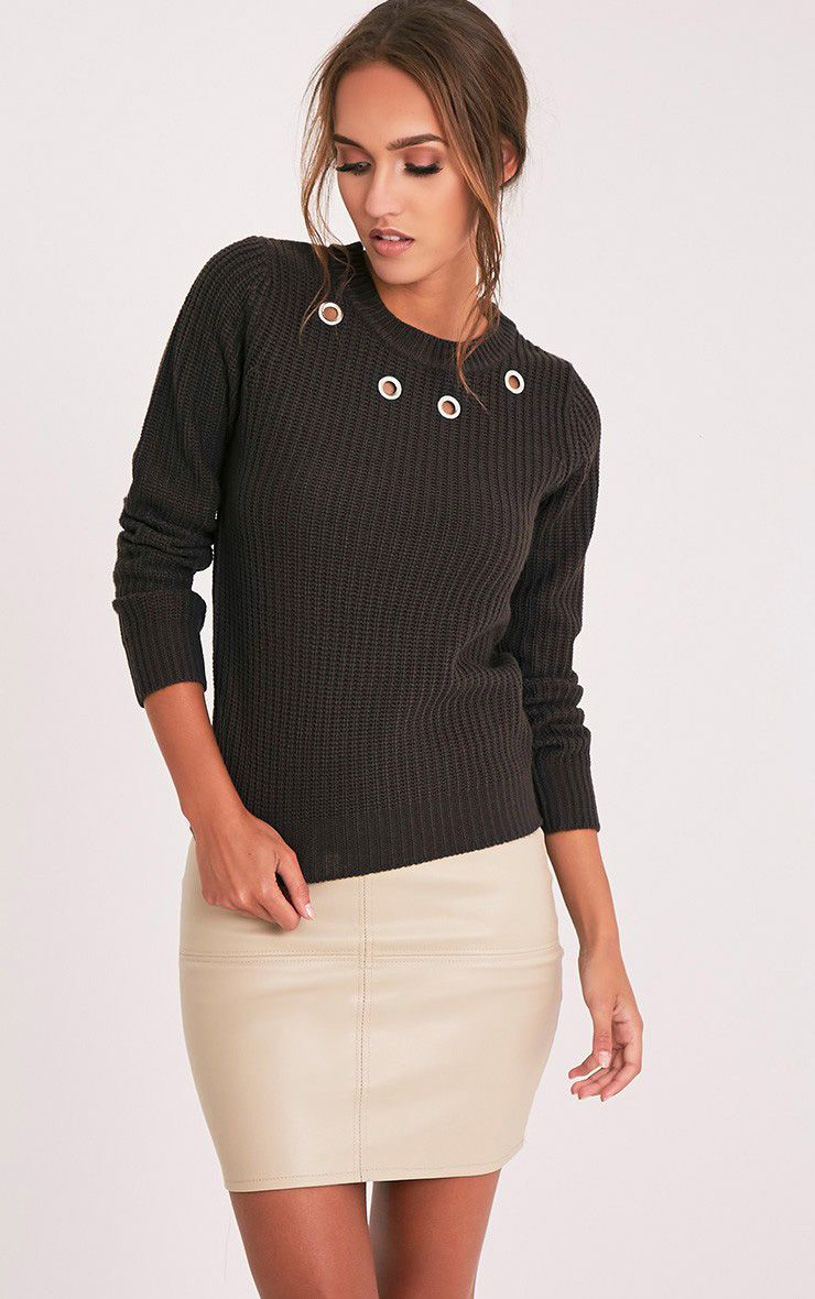 Indie Charcoal Eyelet Detail Knitted Jumper 1