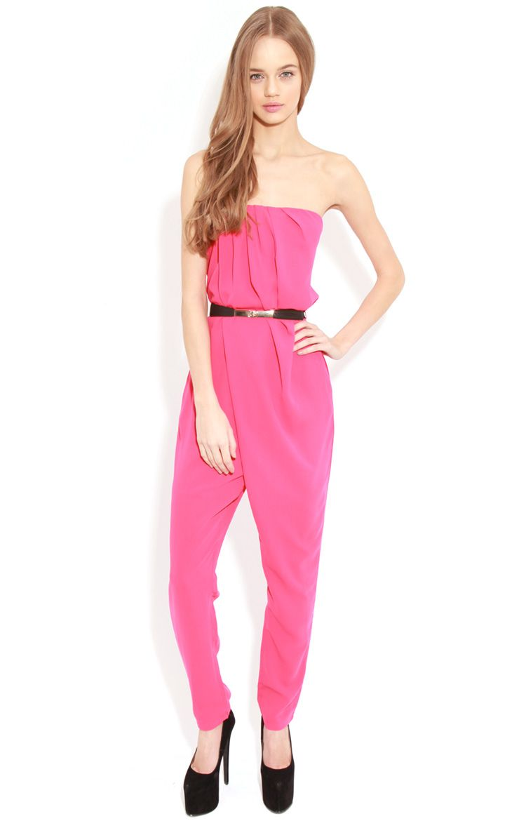 Ellie Fuschia Strapless Jumpsuit With Belt  1