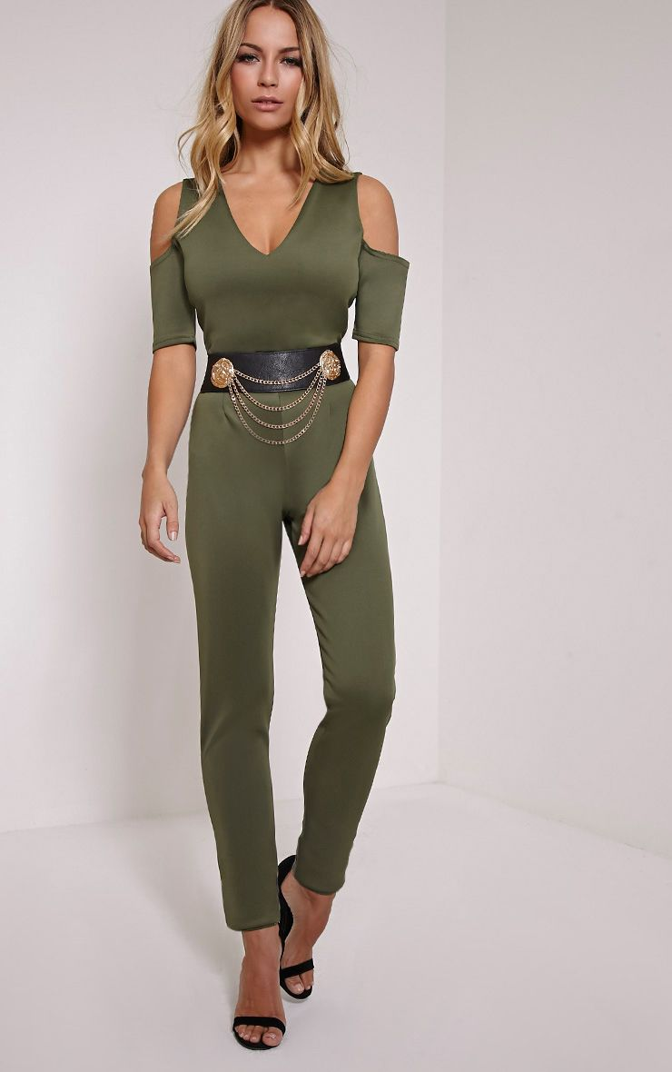 Melany Khaki Cut Out Shoulder Jumpsuit Green
