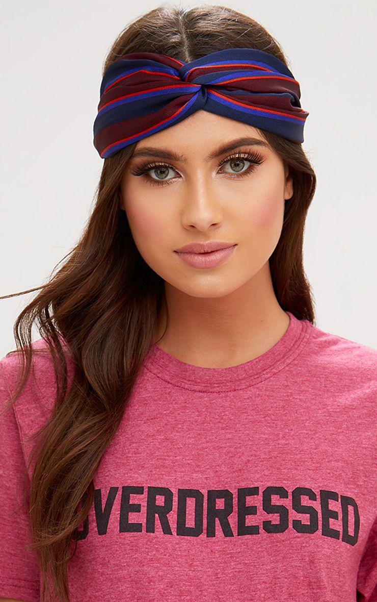 Burgundy Striped Knotted Headband