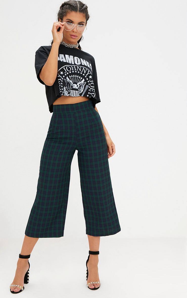 Navy Check High Waisted Culottes