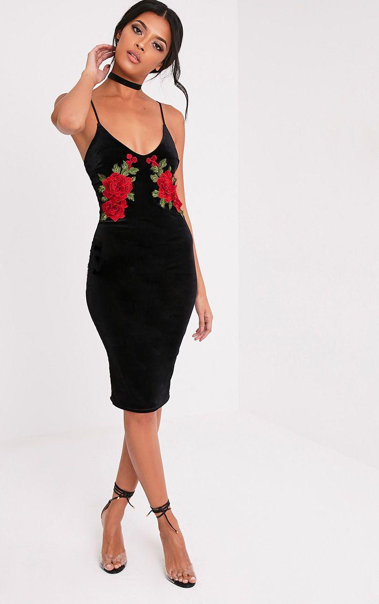 Chelsea Black Velvet Floral Applique Midi Dress