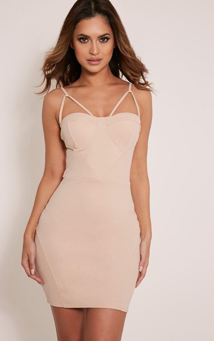 Carrie Stone Crepe Panel Bodycon Dress 1
