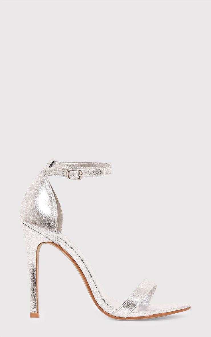 Clover Silver Metallic Strap Heeled Sandals