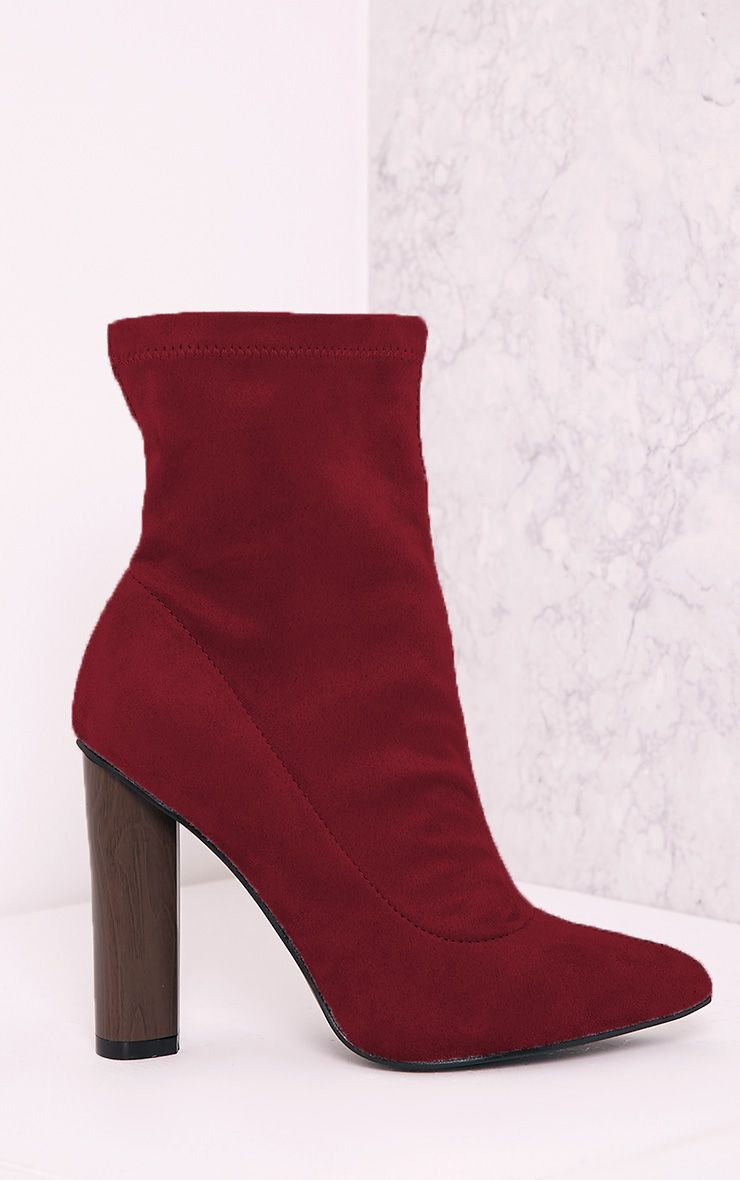 Celisa Berry Faux Suede Sock Ankle Boots 1