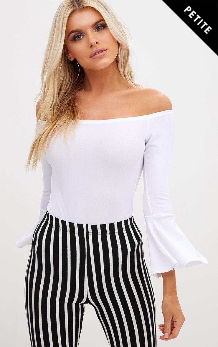 Petite White Flare Hem Sleeve Bodysuit