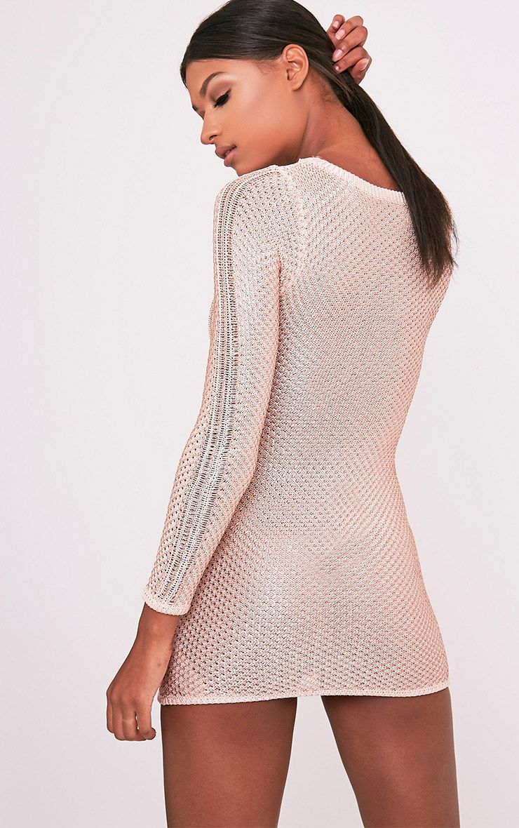 Venita Rose Gold Metallic Knit Lace Up Mini Dress 4