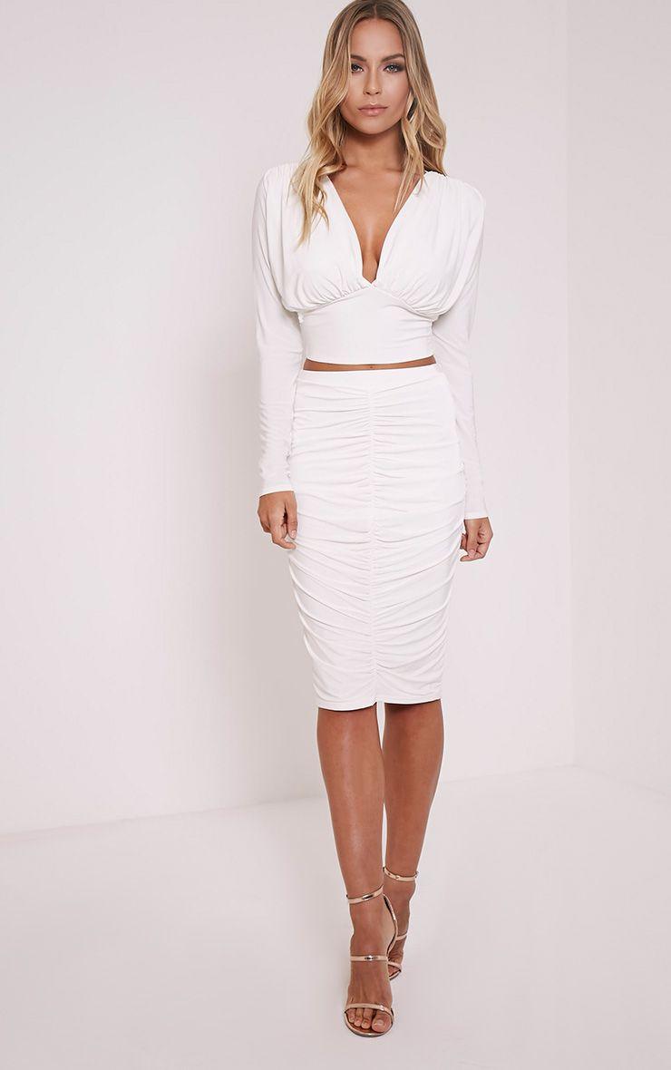 Nicole Cream Slinky Ruched Midi Skirt 1