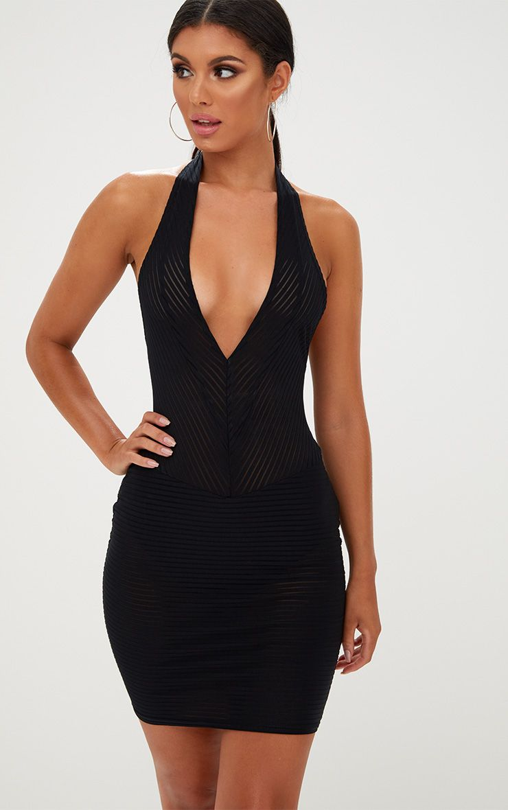 Black Sheer Striped Halterneck Bodycon Dress
