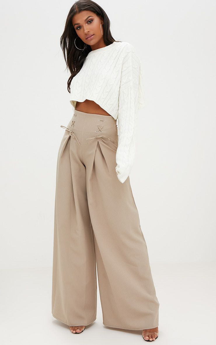 Stone Pinstripe Lace Up Wide Leg Trousers