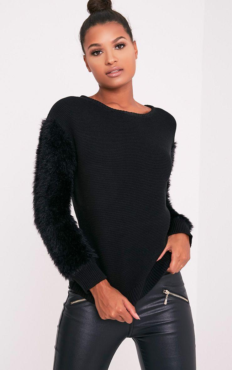 Rene pull tricoté fin à manches duveteuses noir 1