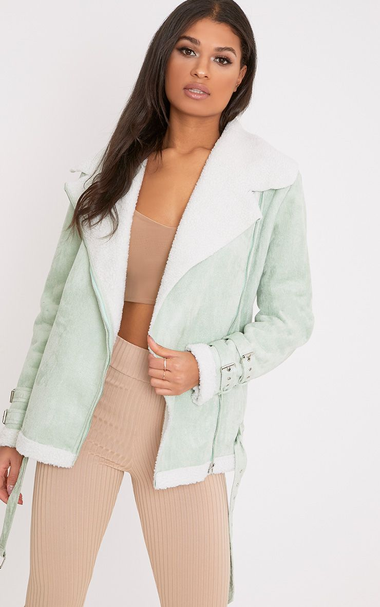 Emilia Sage Green Faux Suede Aviator Jacket
