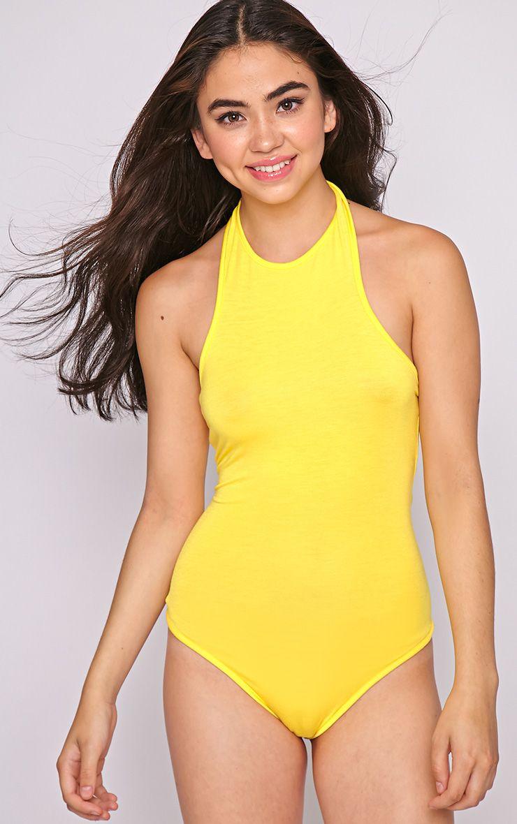 Sara Yellow Halterneck Bodysuit  1