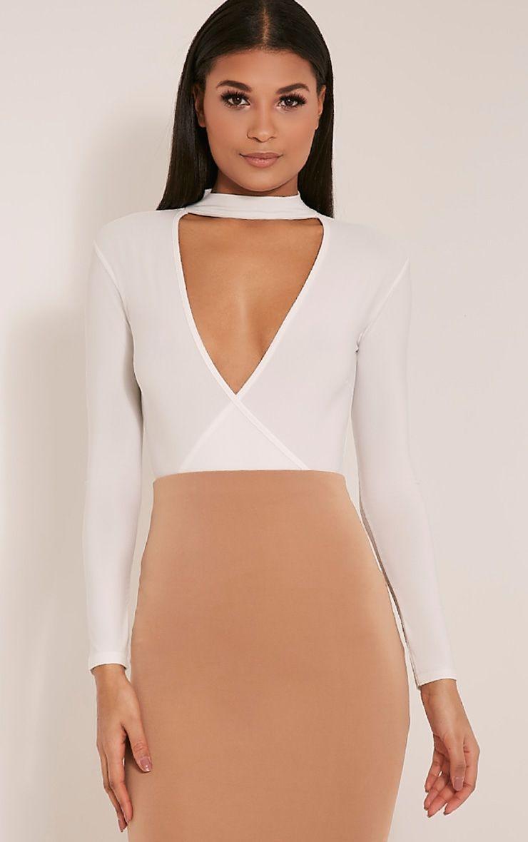 Sherrie Cream Cross Front Choker Bodysuit 1