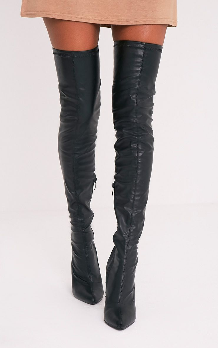Leenah Black PU Pointed Thigh High Heeled Boots 1