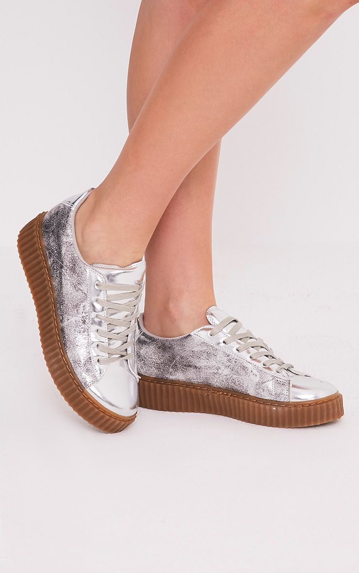Cia Silver Metallic Creeper Trainers