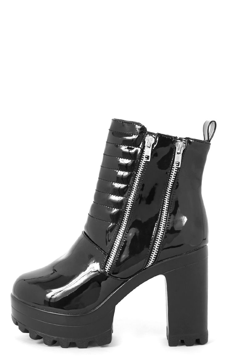 Shika Black Patent Ribbed Front Cleated Boot  1