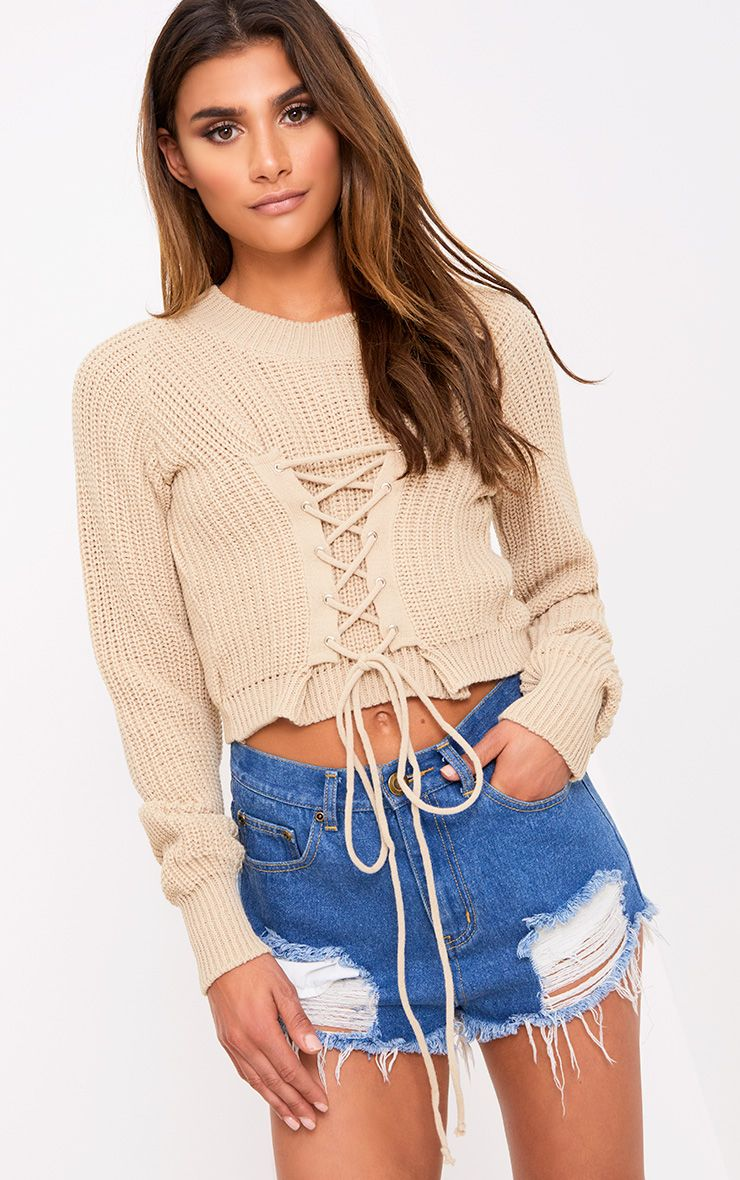 Stone Corset Crop Knit Jumper
