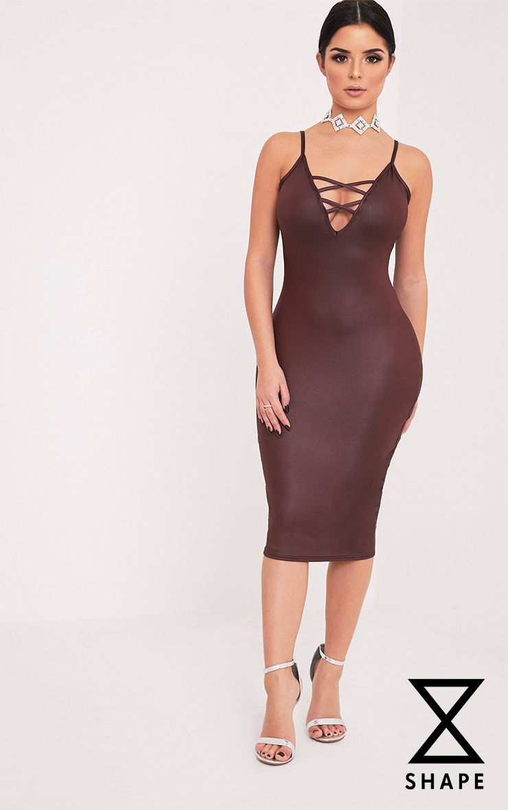 Shape Joleene Burgundy Wet Look Plunge Midi Dress  1