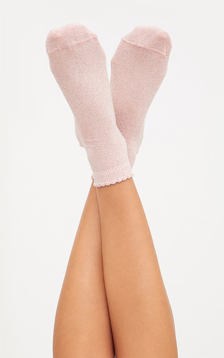 Baby Pink Glitter Lurex Frill Ankle Socks