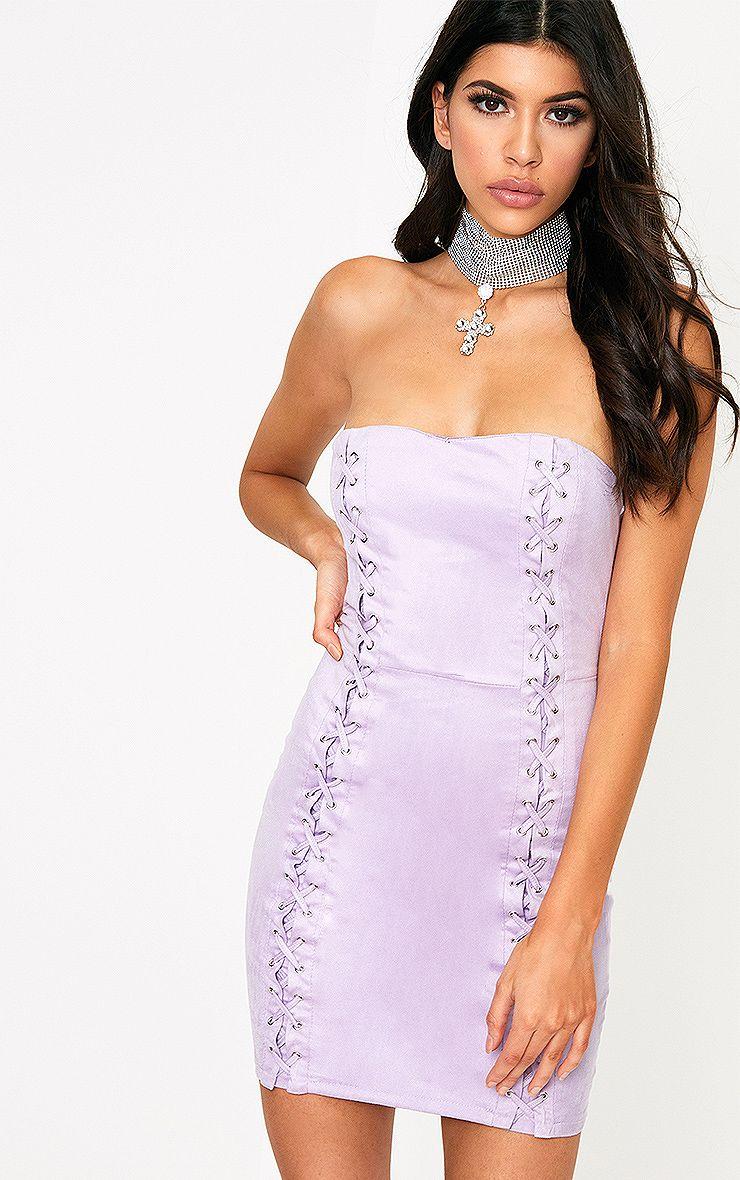 Kianah Lilac Faux Suede Eyelet Detail Bandeau Bodycon Dress