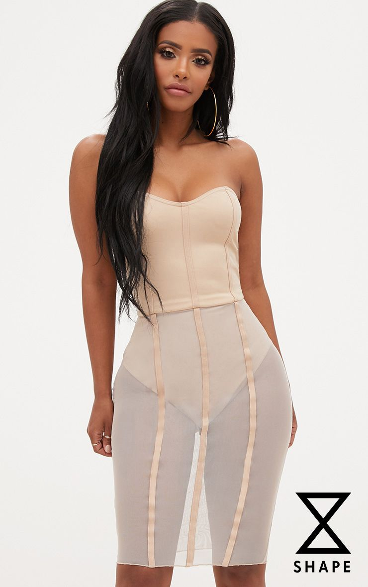 Shape Amaya Nude Bandeau Mesh Insert Dress