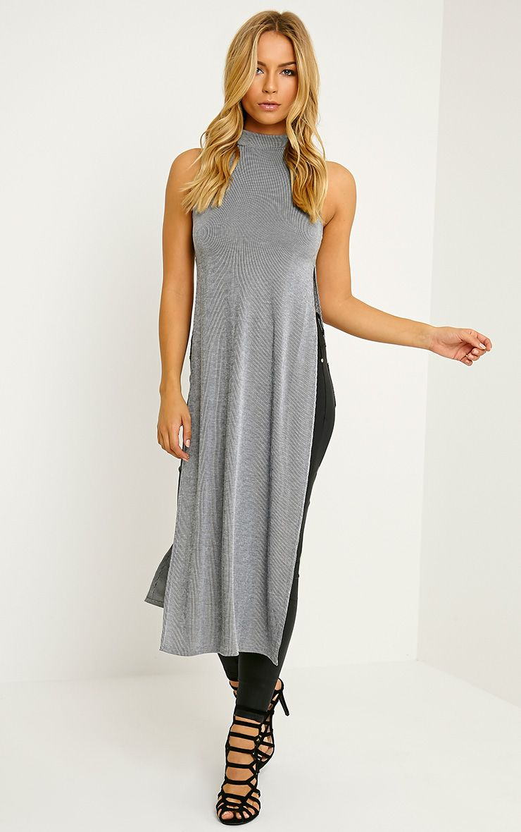 Klarabelle Grey Ribbed High Neck Side Split Top 1