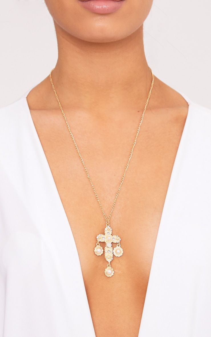 Elamae Pearl Cross Chain Necklace