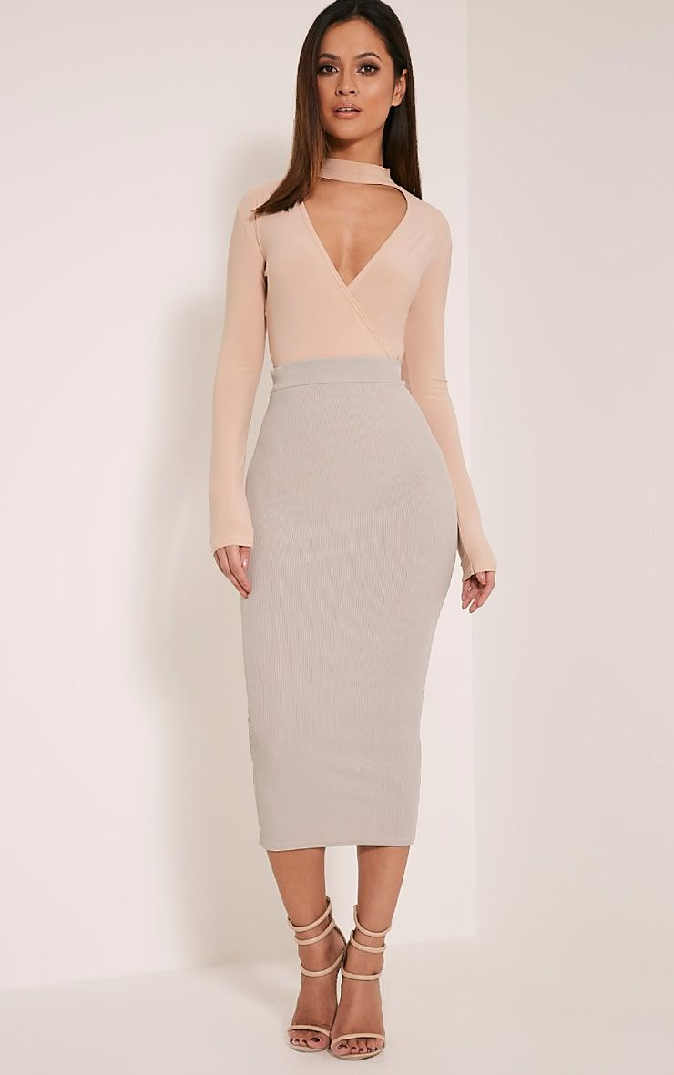 Sela Grey Fine Ribbed Midi Skirt 1