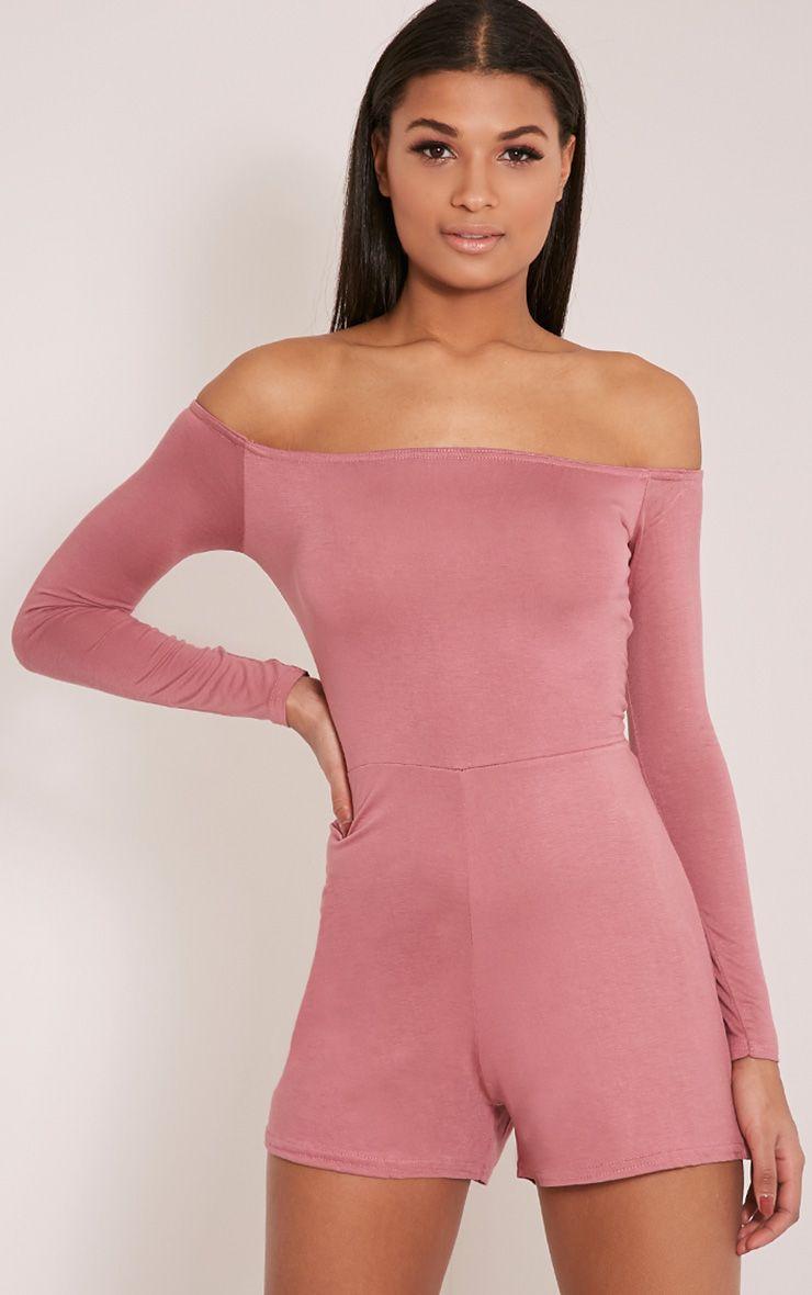 Basic Rose Bardot Jersey Playsuit 1