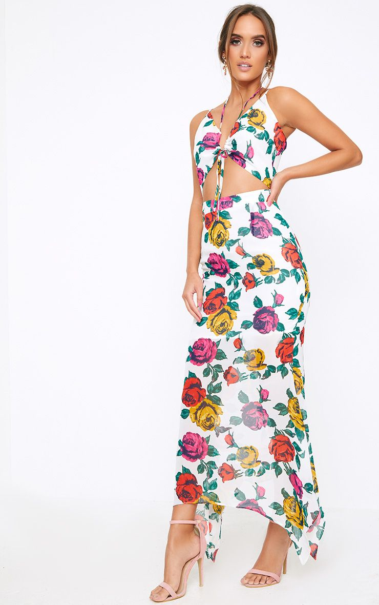 White Floral Cut Out Maxi Dress
