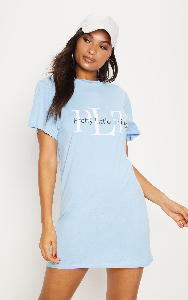 Dusty Blue PrettyLittleThing Mirrored T Shirt Dress