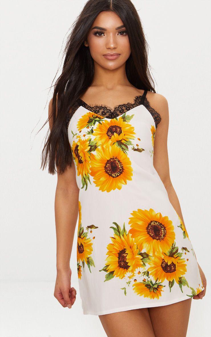 White Sunflower Lace Trim Slip Dress 1