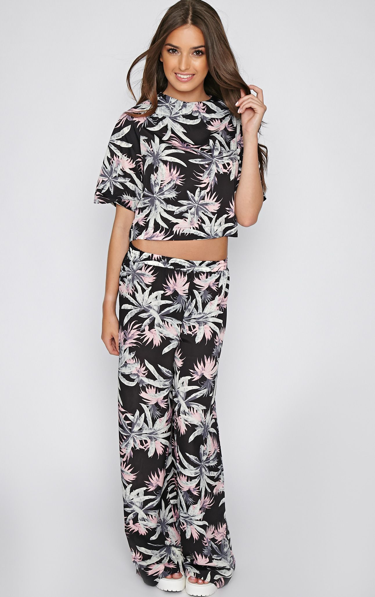 Jocelyn Black Leaf Print Trouser -S 1